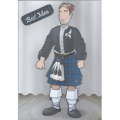 Best Man in Kilt Decoupage Card