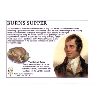 Place Mats - Burns Supper with Selkirk Grace