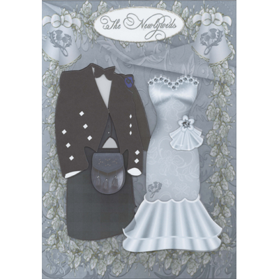 Newlyweds - Dark Tartan Decoupage Card