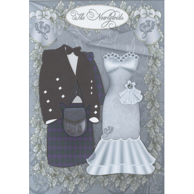 Newlyweds - Purple Tartan Decoupage Card